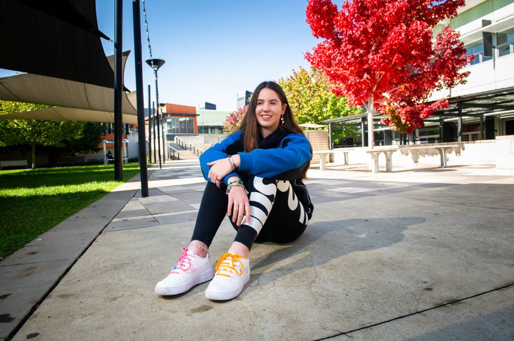 Year 11 Gungahlin College student Natalie Hardy, 16, won the year 11-12 section of the schoolyard ideas competition. Picture: Elesa Kurtz