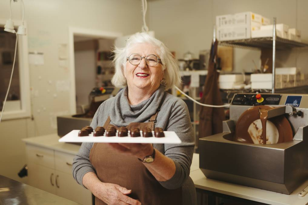 Robyn Rowe this week in the kitchen of her Murrumbateman business Robyn Rowe Chocolates. Picture: Dion Georgopoulos