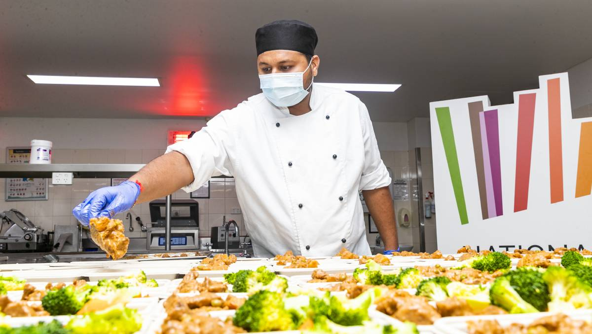 National Convention Centre chef Smit Nayee at work on the meals. Picture: Keegan Carroll