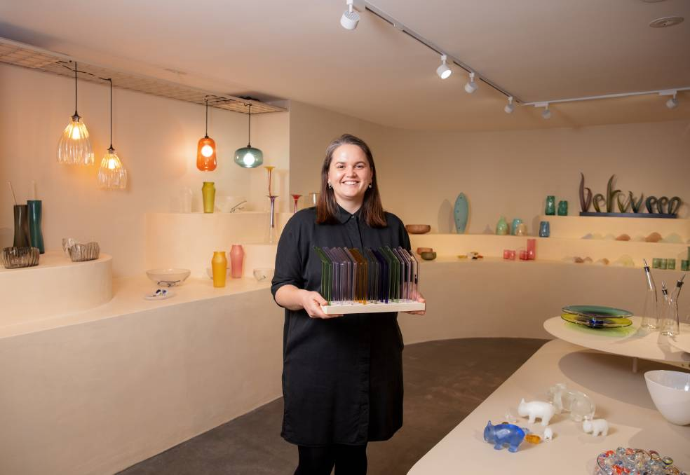 Canberra Glassworks arts administrator Isobel Rayson in the new retail space. Picture: Sitthixay Ditthavong