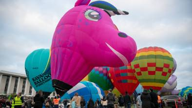New York-balloon Allycorn is inflated at the Patrick White Lawns on Saturday, the first day of the annual Canberra Balloon Spectacular. Picture: Keegan Carroll