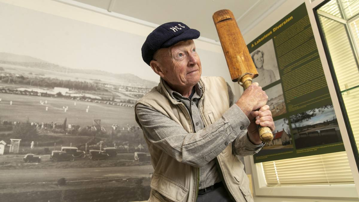 Allen Mawer, who has opened a new exhibit at Hall School Museum and Heritage Centre about cricket's history in the Canberra region. Picture: Keegan Carroll