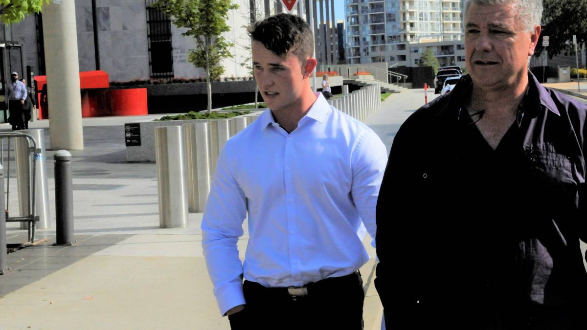 Jese Smith-Shields, left, outside court earlier in his trial. Picture: Blake Foden