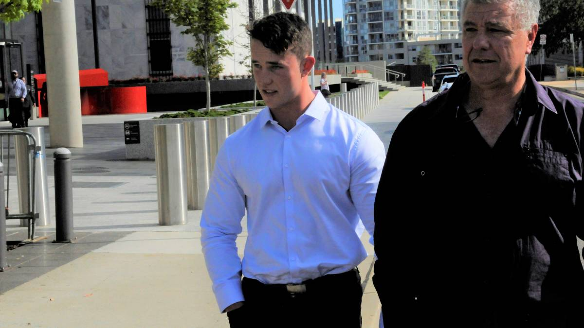 Jese Smith-Shields, left, outside court during his trial. Picture: Blake Foden
