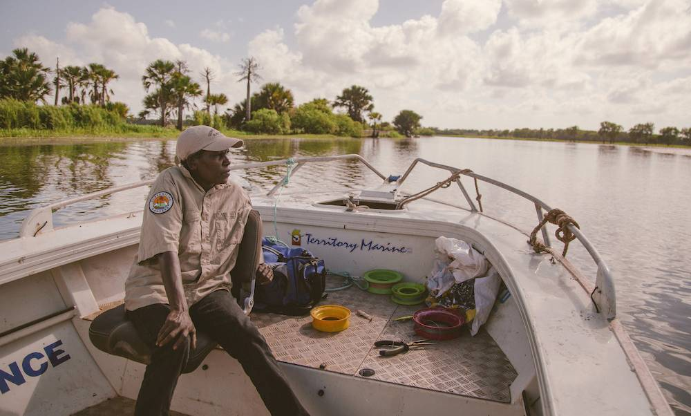 Arafure swamp ranger on patrol. Picture: Arafura Swamp Rangers Aboriginal Corporation.