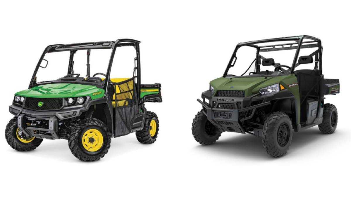 A John Deere ATV, left, and a Polaris ATV, similar to the ones stolen. Picture: Supplied