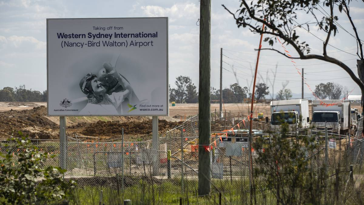 The ongoing construction at the new Badgerys Creek airport site. Picture: Getty Images