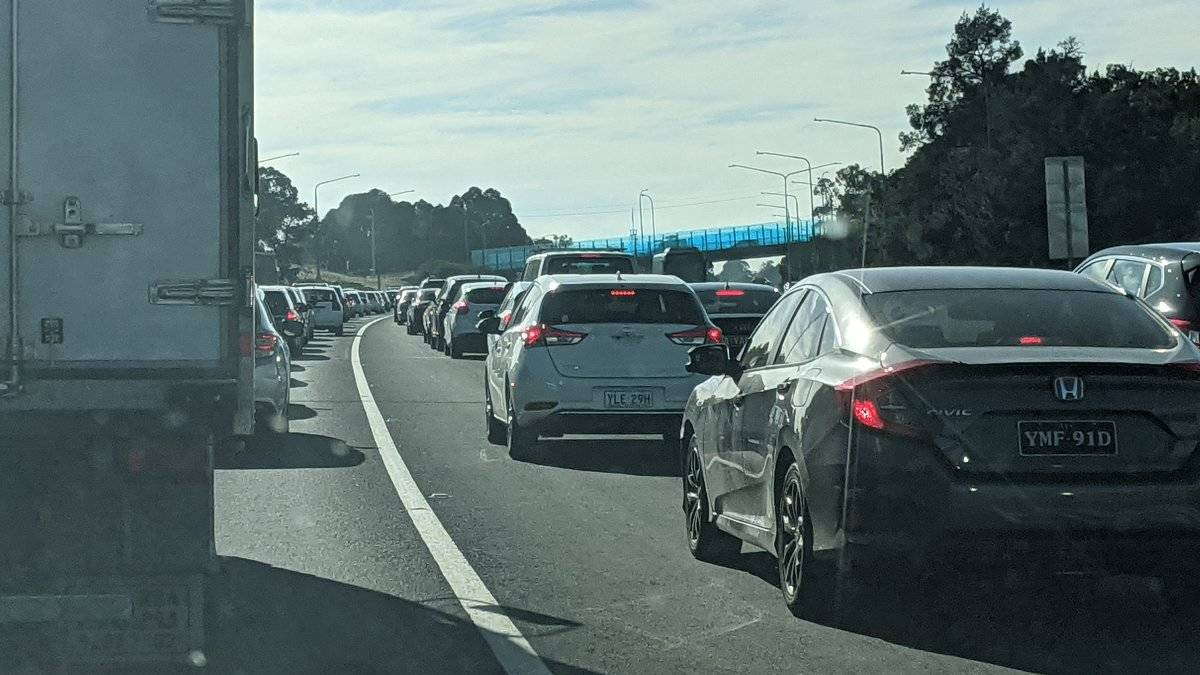 Traffic was at a standstill on Adelaide Avenue. Picture: Megan Doherty