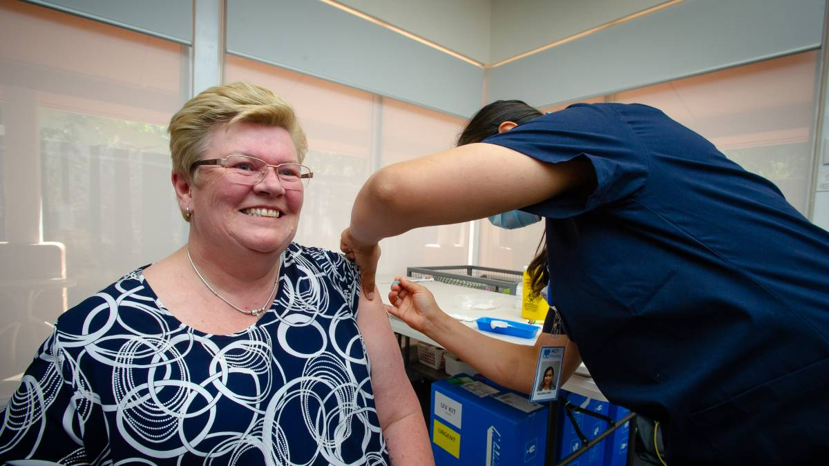 St Andrew's Village care manager Kath Pollock recieved the vaccine on Friday. Picture: Elesa Kurtz