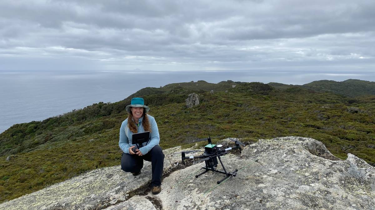 Dr Debbie Saunders with one of her drones. Picture: Wildlife Drones