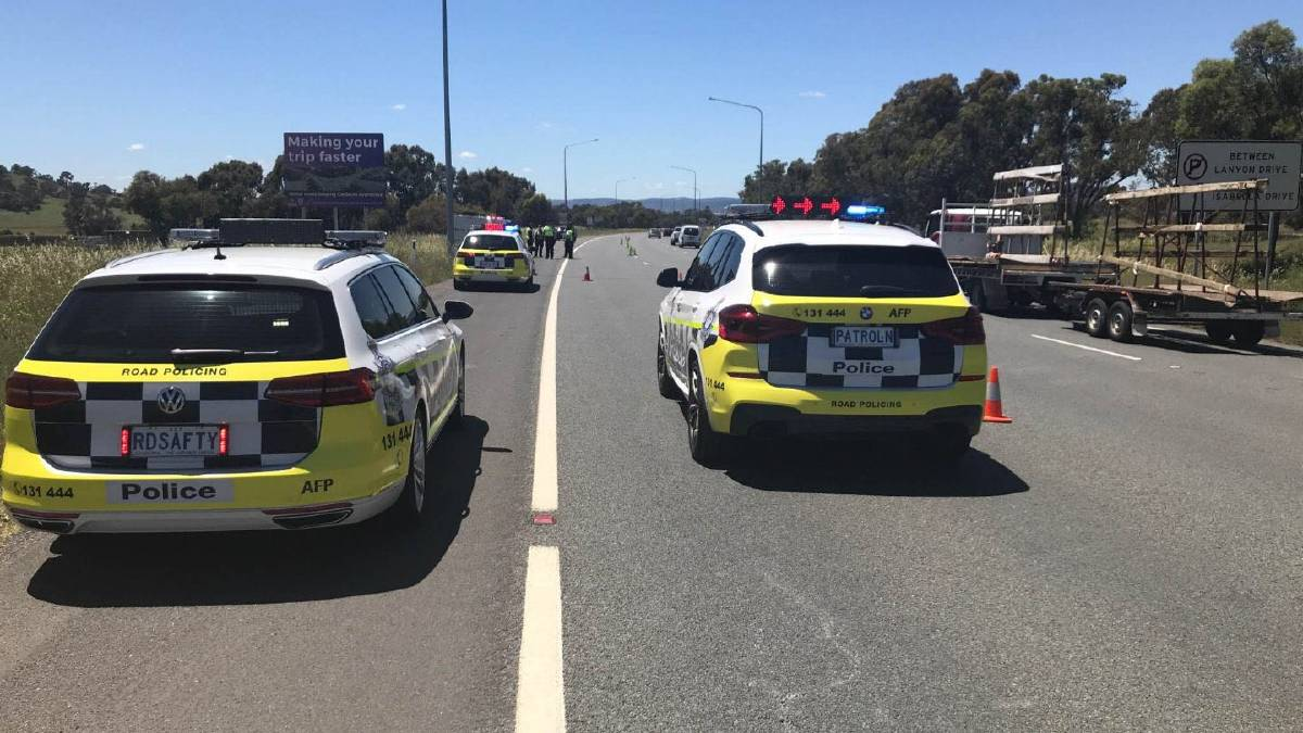 ACT Police are pleased by the good behaviour of Canberra drivers after a drug and drink driving testing spree in Hume on November 18. Picture: Supplied