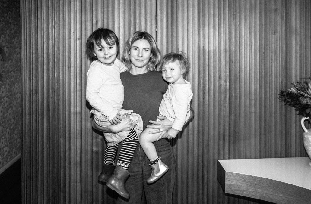 Ashe Davenport with Dee Dee, 4, and Franny, 2. Picture: Supplied