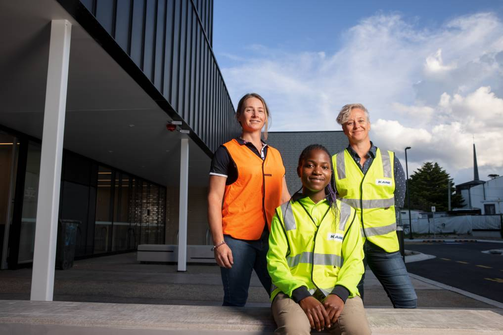 National Association of Women in Construction ACT president Peita De Boer and Kane Construction general manager Jo Farrell with apprentice Evana Rabi. Picture: Sitthixay Ditthavong