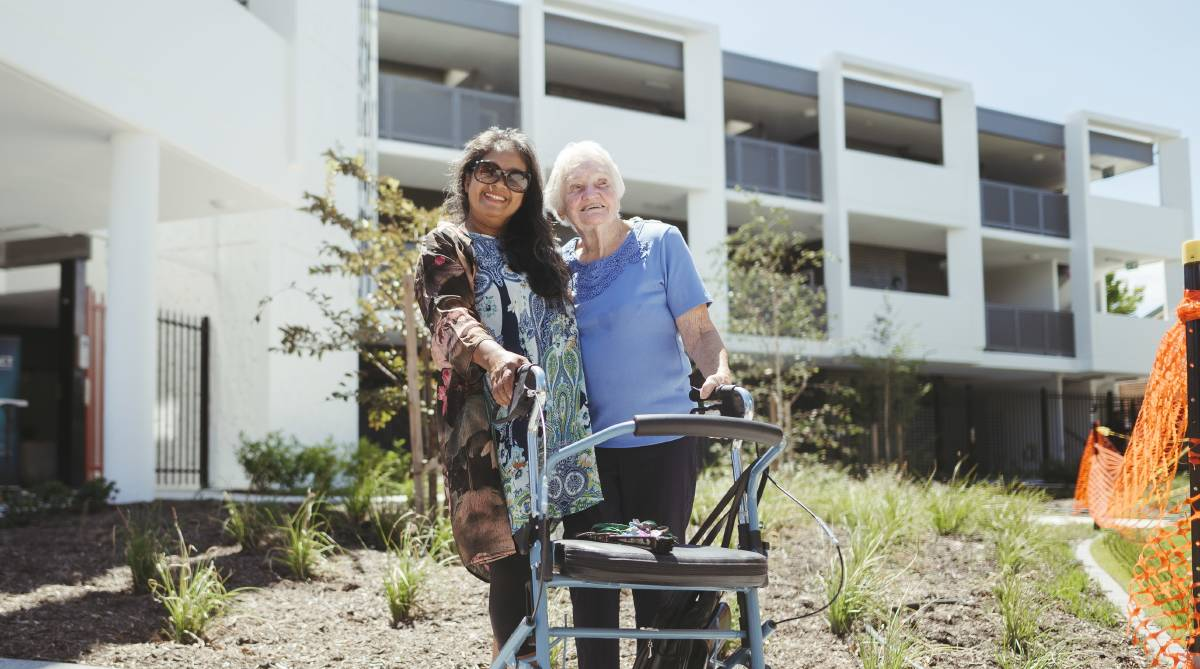 Tenants of new Dickson public housing complex Novy Forcadas and Pat Bailey. Picture: Dion Georgopoulos