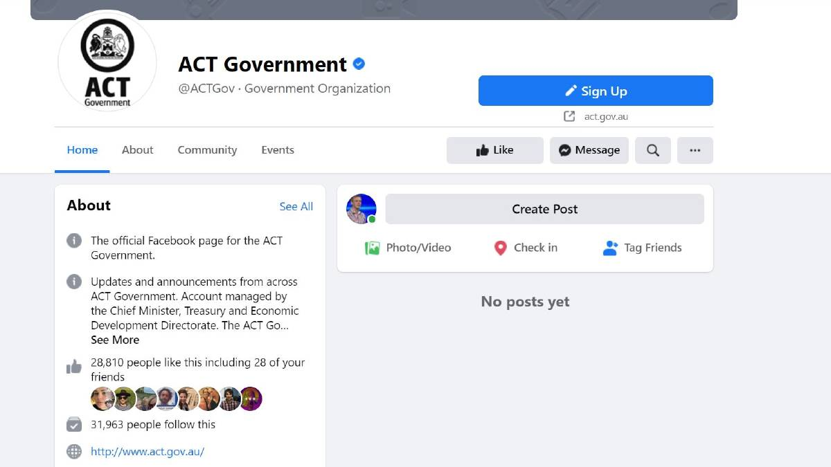 ACT government accounts were briefly unavailable on Thursday after being blocked by Facebook.
