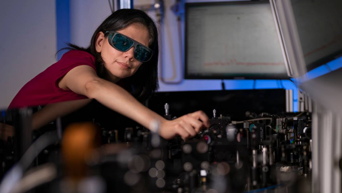 Lead researcher Dr Rocio Camacho Morales, who has helped to develop a new nanocrystal film that lets people see in the dark. Picture: Jamie Kidston B