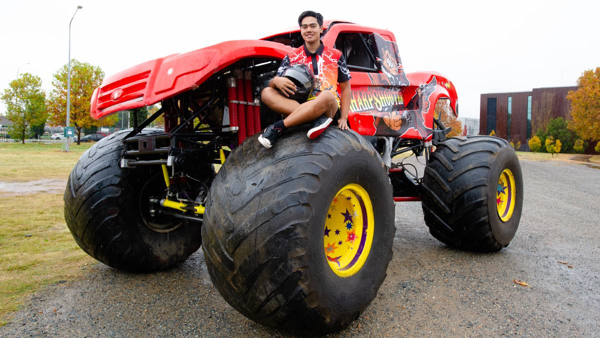 Cassius Stevenson, 16, has his sights on a driving career as a professional freestyler on the Monster Jam touring circuit in the US. Picture: Elesa Kurtz