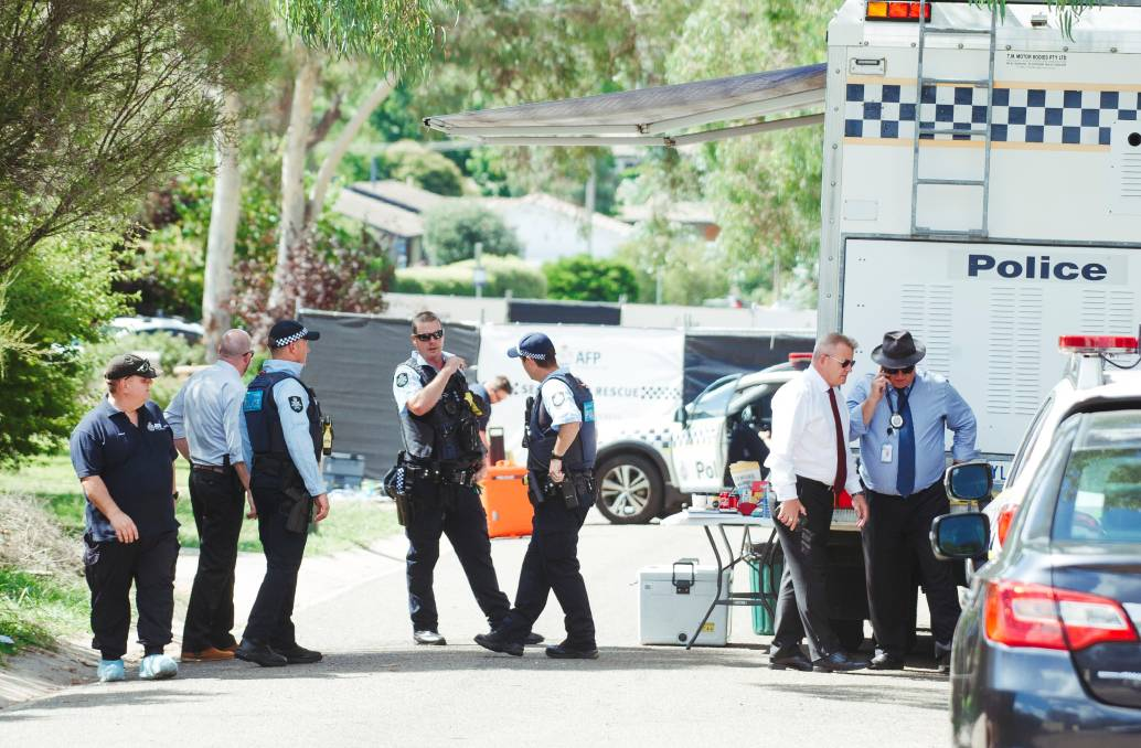 Police at the Page homicide scene on Saturday. Picture: Dion Georgeopoulos