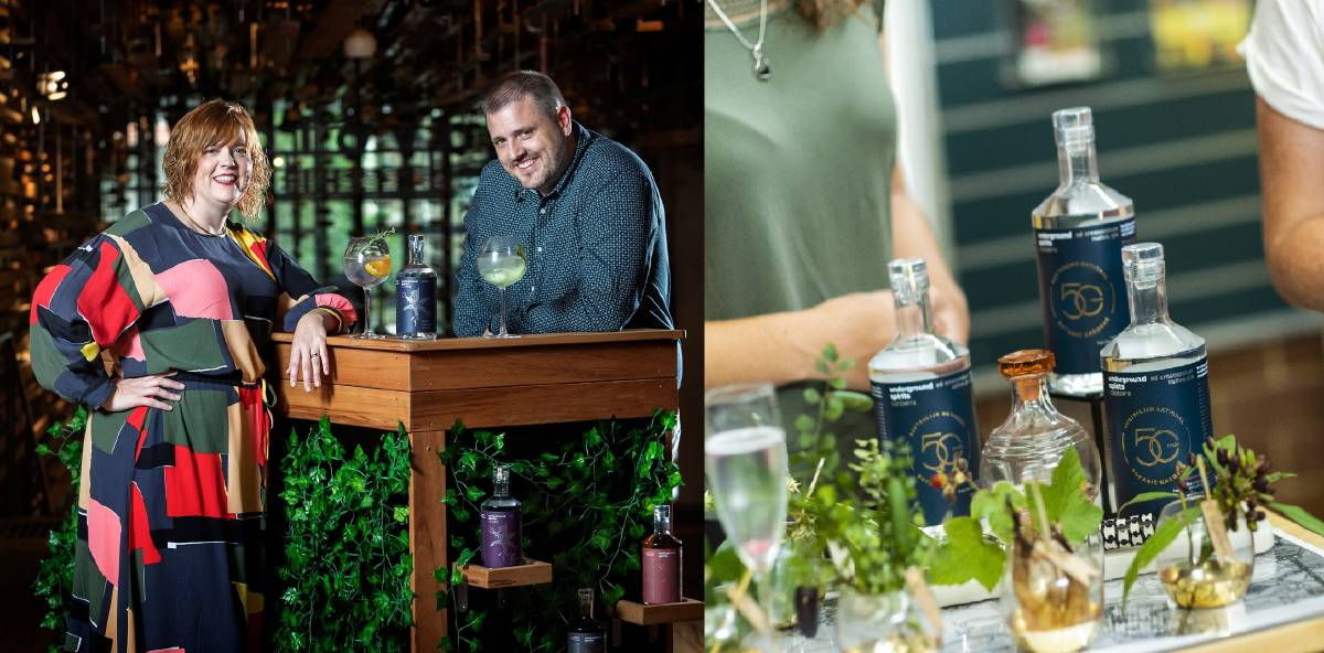 Owners of Underground Spirits Claudia Roughley and Dr Toby Angstmann have created a range of premium gins and vodkas using local produce.