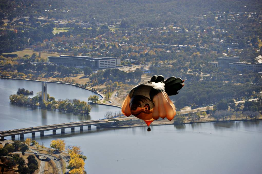 The Skywhale takes flight over Canberra in 2013. Picture: Jay Cronan