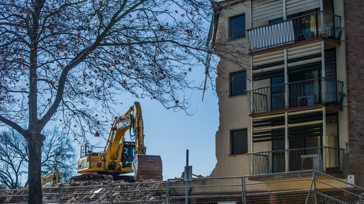 The demolition of the remainder of the Allawah flats building in Canberra's CBD. Picture: Karleen Minney