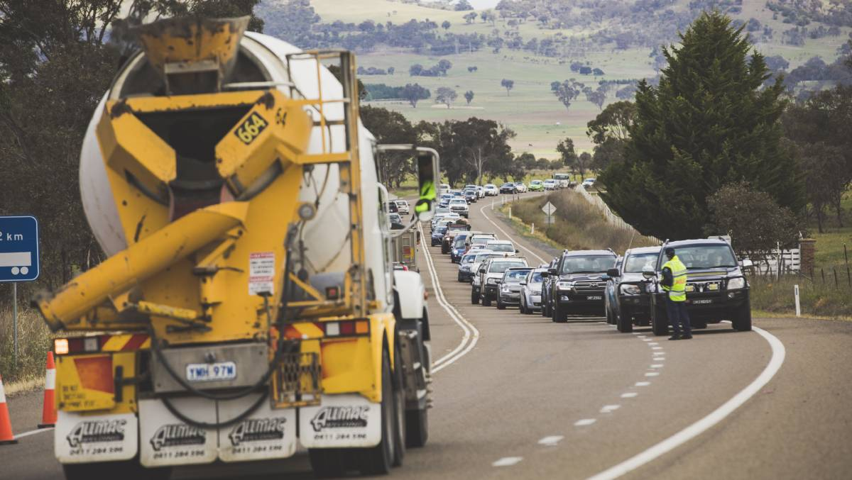 Heavy traffic on the Barton Highway, pictured in December 2018. The road has seen a steep decline in travel time during the coronavirus pandemic. Picture: Jamila Toderas