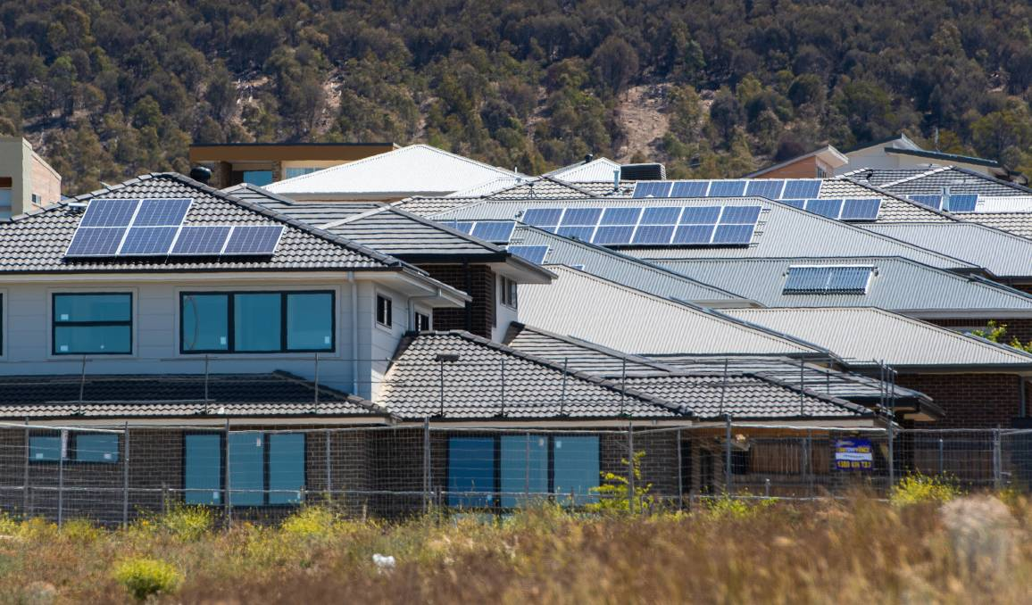 Solar panels go up on most of the new homes in the Molonglo Valley. Picture: Elesa Kurtz