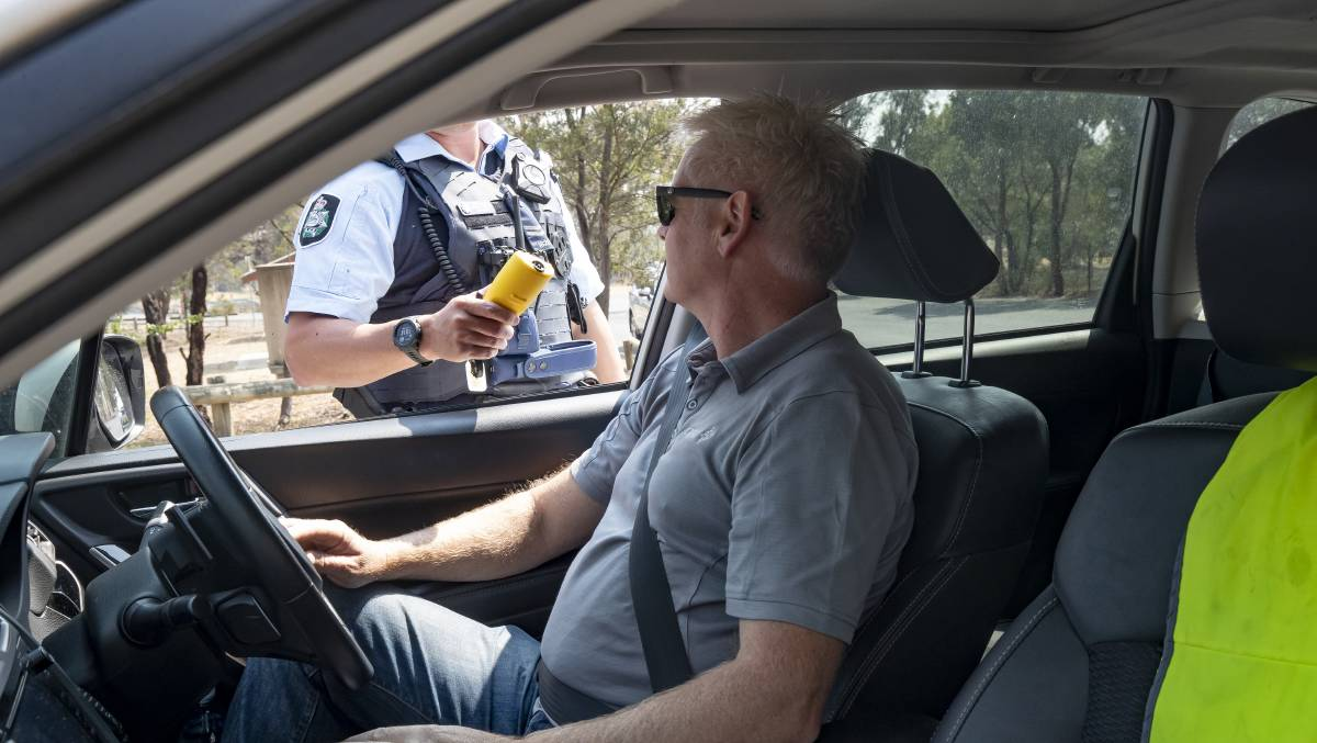 ACT police officers will still carry out breath tests despite fears over coronavirus. Picture: Sitthixay Ditthavong