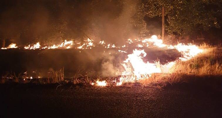A grass fire burns in Batlow on Saturday, January 4, 2020. Picture: Matthew Rudd / Supplied