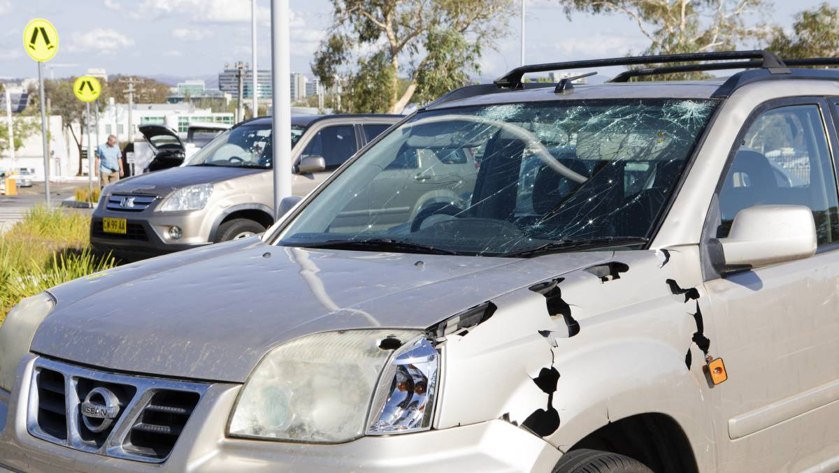 Hail damaged cars from January's storm. Picture: Jamila Toderas