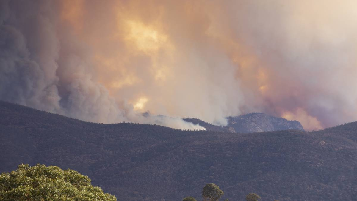 The massive Orroral Valley fire in Namadgi National Park. ACT authorities have been praised for protecting Aboriginal cultural sites during the fire. Picture: Jamila Toderas
