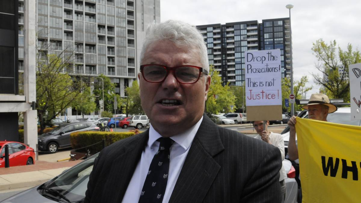 David McBride speaks to the media after arriving at the ACT Supreme Court. Picture: Blake Foden