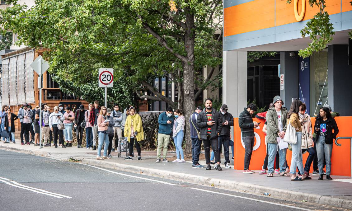 Lines outside Woden Centrelink in March: The jobactive caseload has increased from around 630,000 on February 29 to more than 1.3 million on May 7. Picture: Karleen Minney