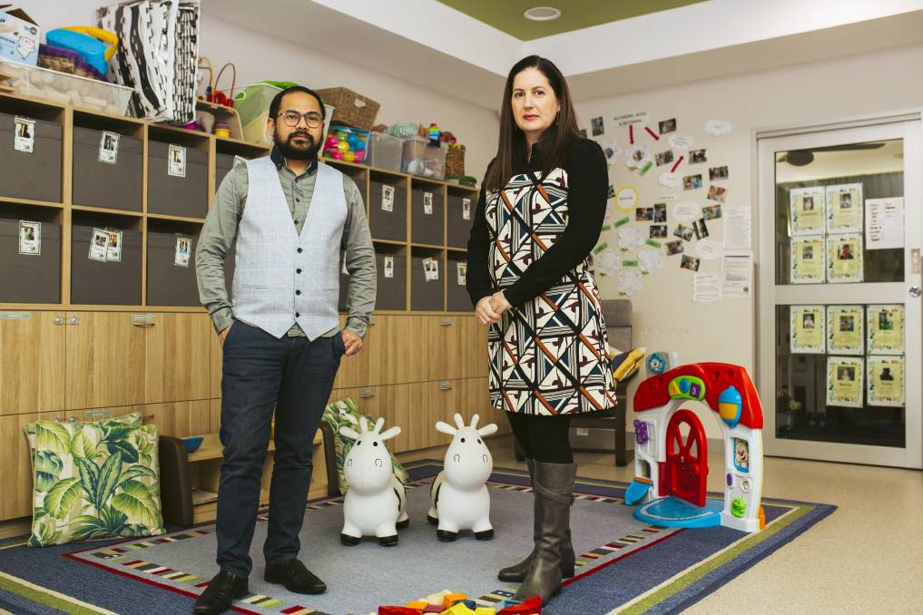 Torrens Early Learning director Dr Lemuel Toledano with Natalie Colbert, who owns three childcare centres in Canberra. Picture: Jamila Toderas