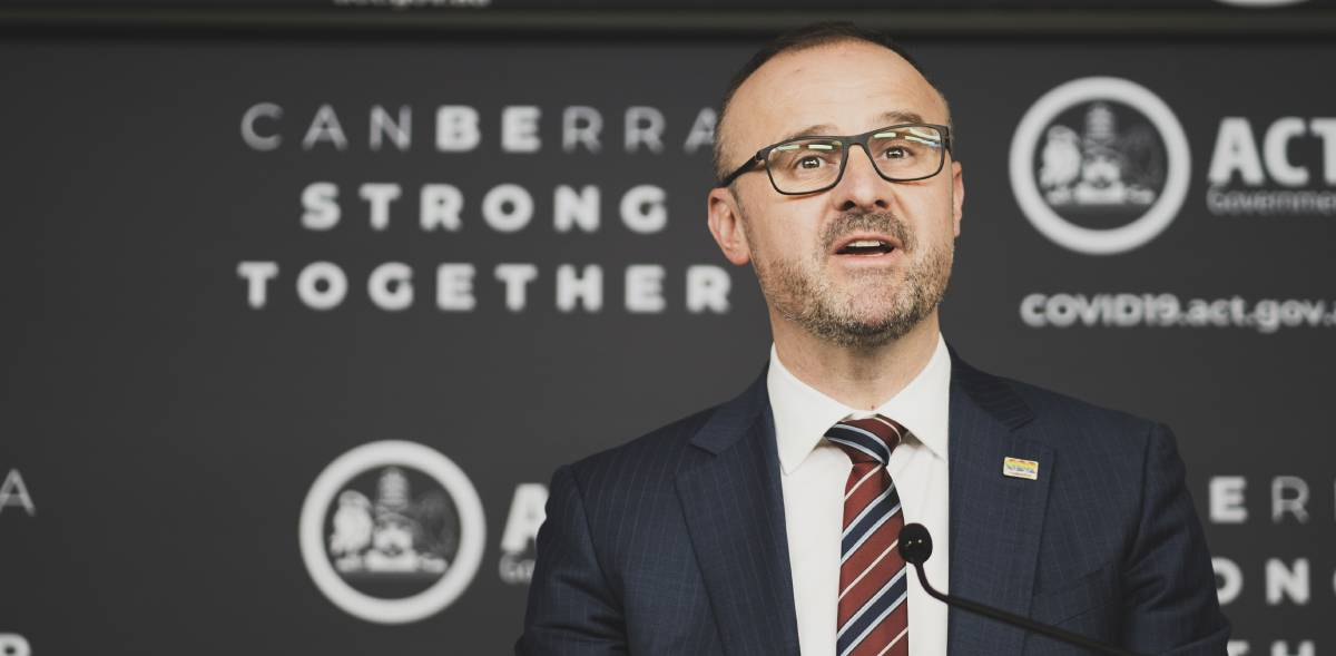 ACT Chief Minister Andrew Barr has announced an extension to a raft of coronavirus support measures. Picture: Dion Georgopoulos