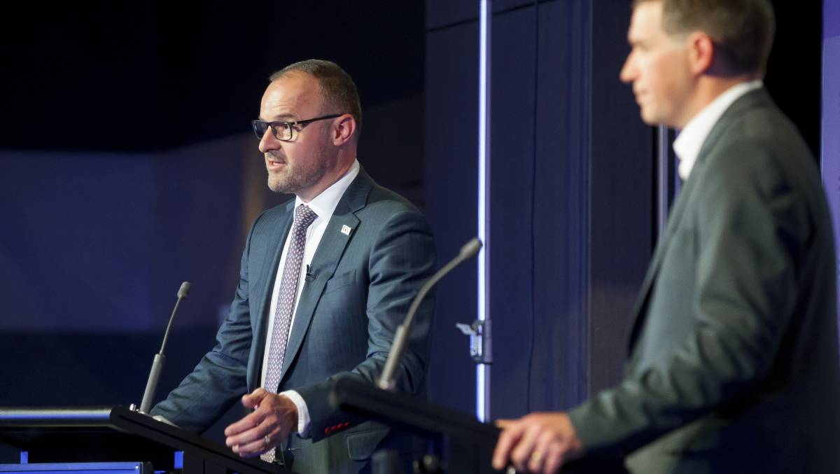 Chief Minister Andrew Barr and Opposition Leader Alistair Coe at the ACT election leaders' debate. Picture: Sitthixay Ditthavong