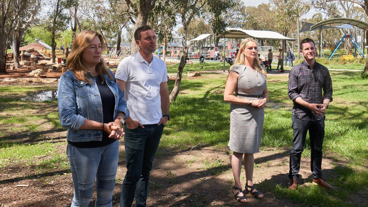 Yvette Berry, Taimus Werner-Gibbings, Marisa Paterson and Chris Steel at Labors post election press conference at Kambah Adventure Park, Sunday, Oct. 18, 2020. Picture: Matt Loxton