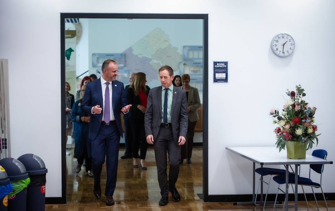 Chief Minister Andrew Barr and Greens leader Shane Rattenbury. Picture: Karleen Minney