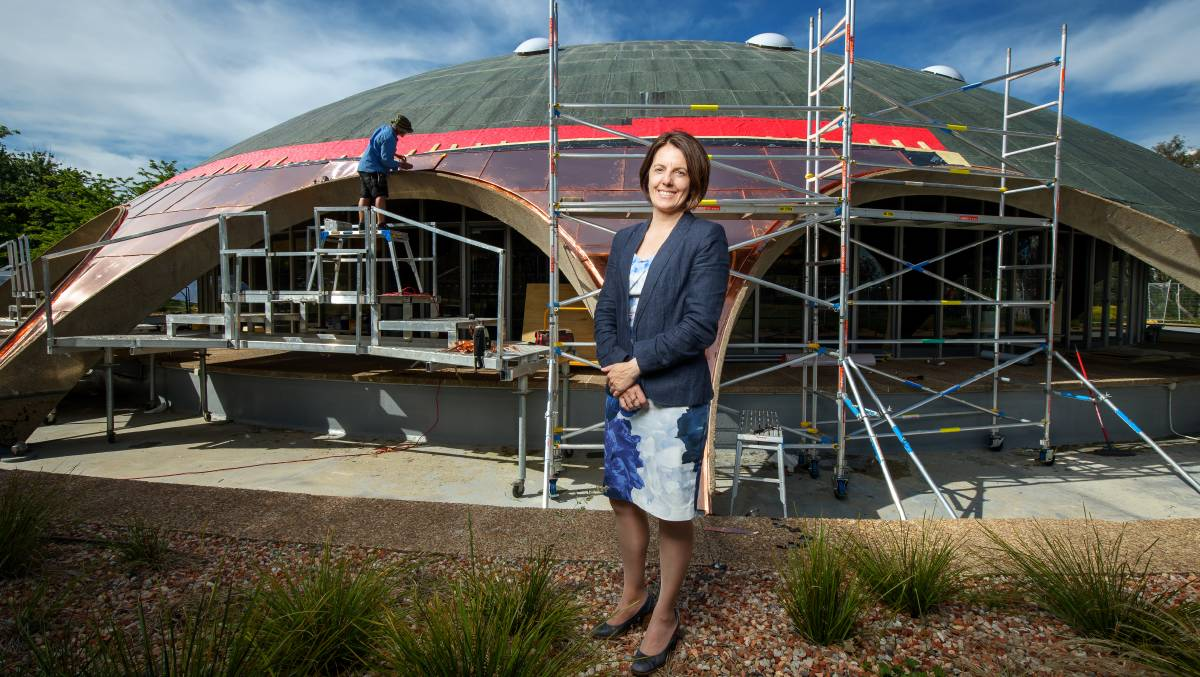 Australian Academy of Science chief executive Anna-Maria Arabia is thrilled to see restoration works under way on the Shine Dome. Picture: Sitthixay Ditthavong