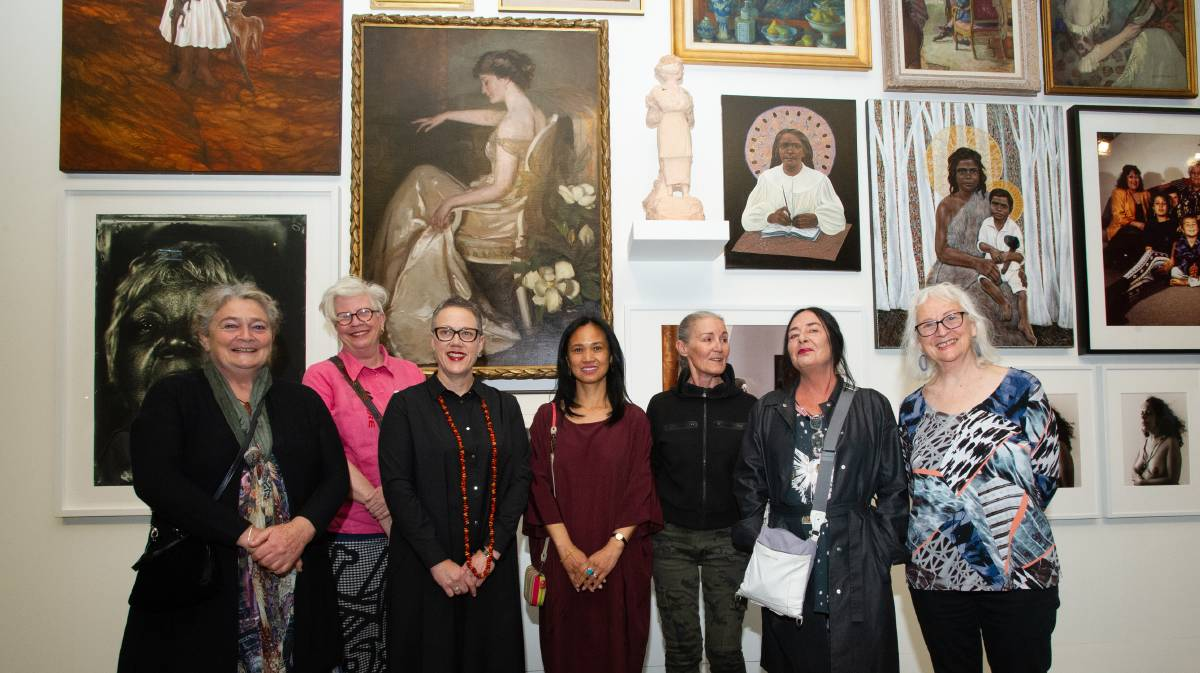 Artists GW Bot, Alison Alder, Brenda L Croft, Savandhary Vongpoothorn, eX de Medici, Marie Hegarty and Bonita Ely at the launch of Know My Name at the National Gallery of Australia. Picture: Elesa Kurtz