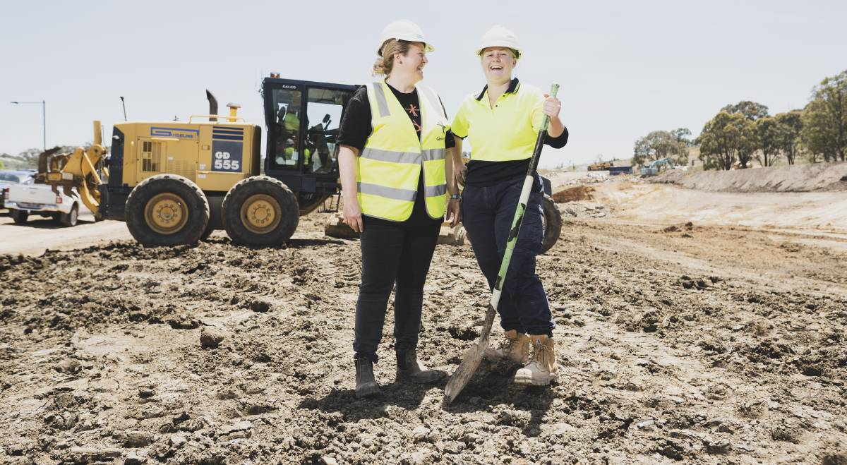 National Association of Women in Construction ACT chair Emma Sckrabei with Guideline ACT work placement participant Chloe Pettifer at a suburban construction site in Taylor. They're excited for a new program to create pathways for women in construction in the ACT. Picture: Dion Georgopoulos