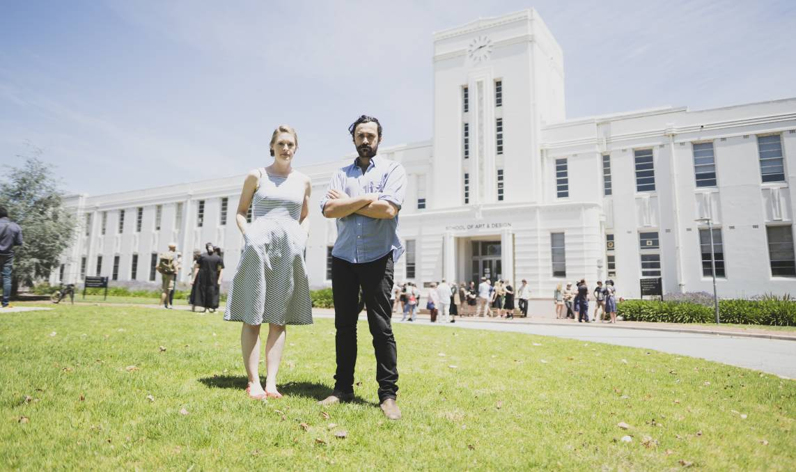 ANU Senior gallery coordinator Megan Hinton, and technical officer and NTEU Union delegate Milan Pintos-Lopez are concerned about cuts at the School of Art and Design. Picture: Dion Georgopoulos