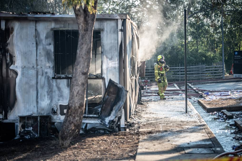 Firefighters have extinguished a fire at an ANU demountable. Picture: Karleen Minney