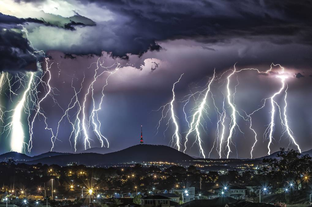 The award-winning photograph of a lightning storm, titled Black Mountain. Picture: Ari Rex