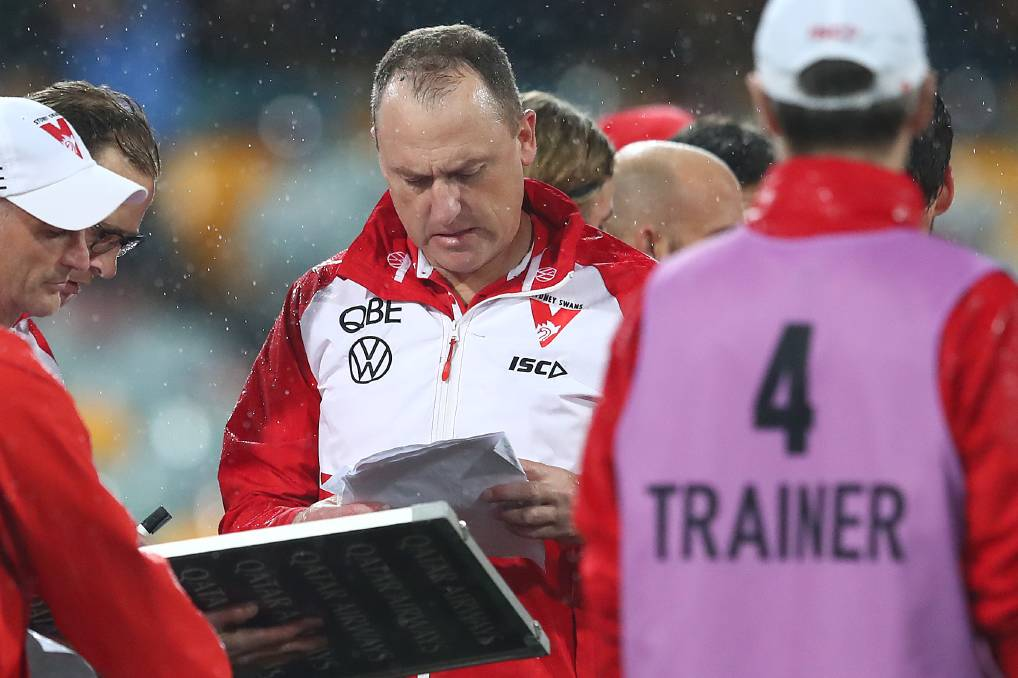 Swans coach John Longmire talks to his team during the match against Richmond at The Gabba on Sunday. Photo: Jono Searle/Getty Images