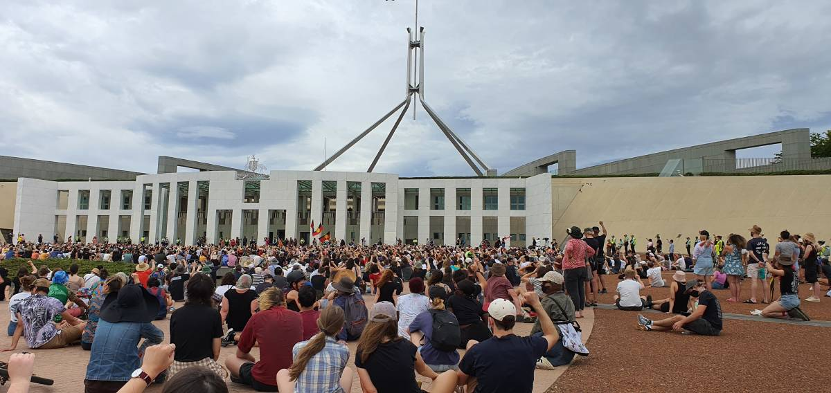 Hundreds of protesters at Parliament House on Tuesday morning. Picture: Andrew Thorpe