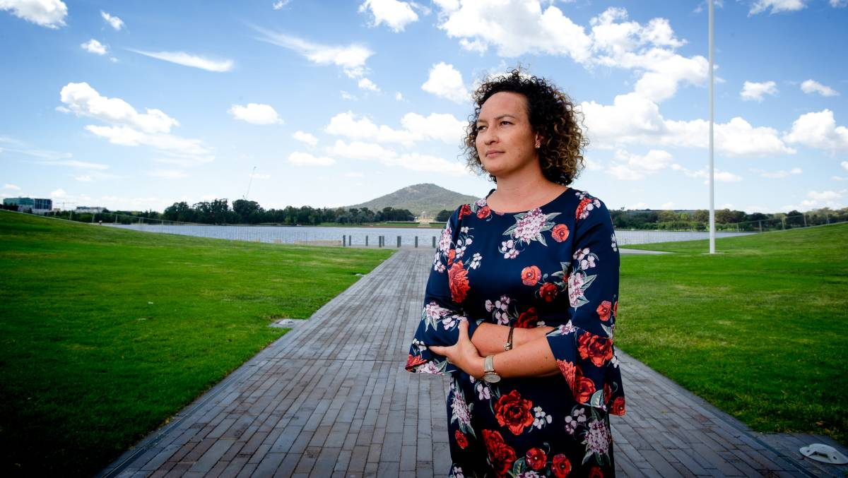 Healing Foundation chief executive Fiona Peterson at the proposed site for an Indigenous memorial. Picture: Elesa Kurtz