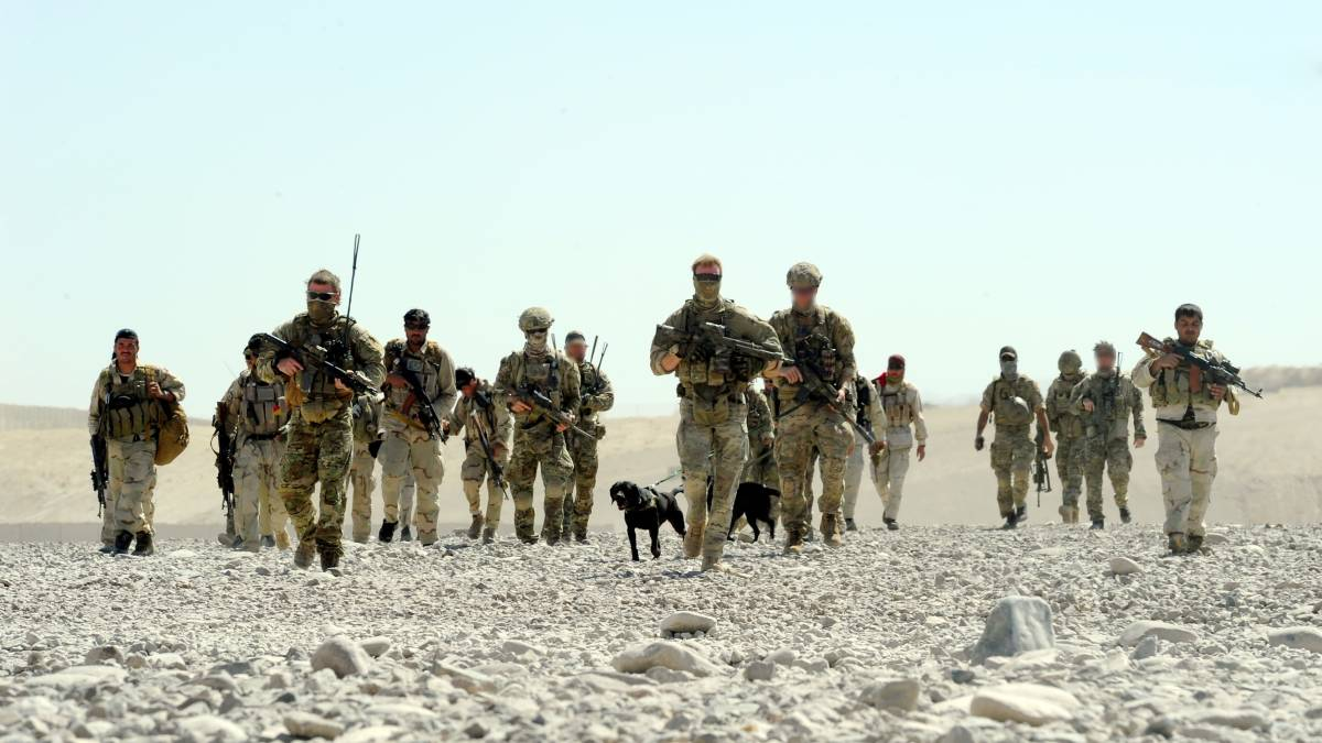 Special Operations Taskforce soldiers with Afghan partners in Uruzgan Province. Picture: Department of Defence