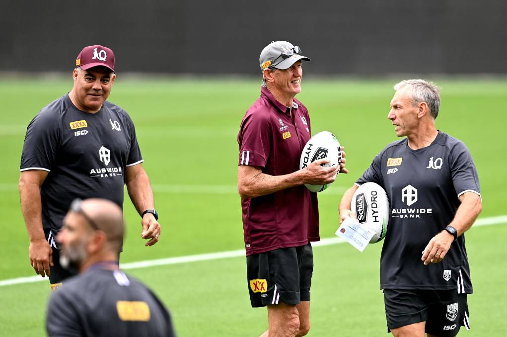 The Maroons' holy coaching trinity of Mal Meninga, Wayne Bennett and Neil Henry. Picture: Getty Images