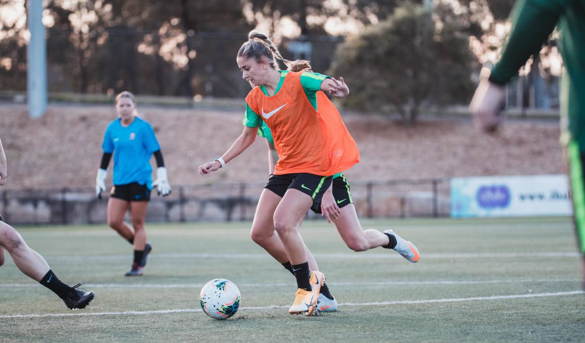 Rising Brisbane Roar star Hollie Palmer is part of the 23-player squad at the Canberra camp. Picture: Football Federation Australia